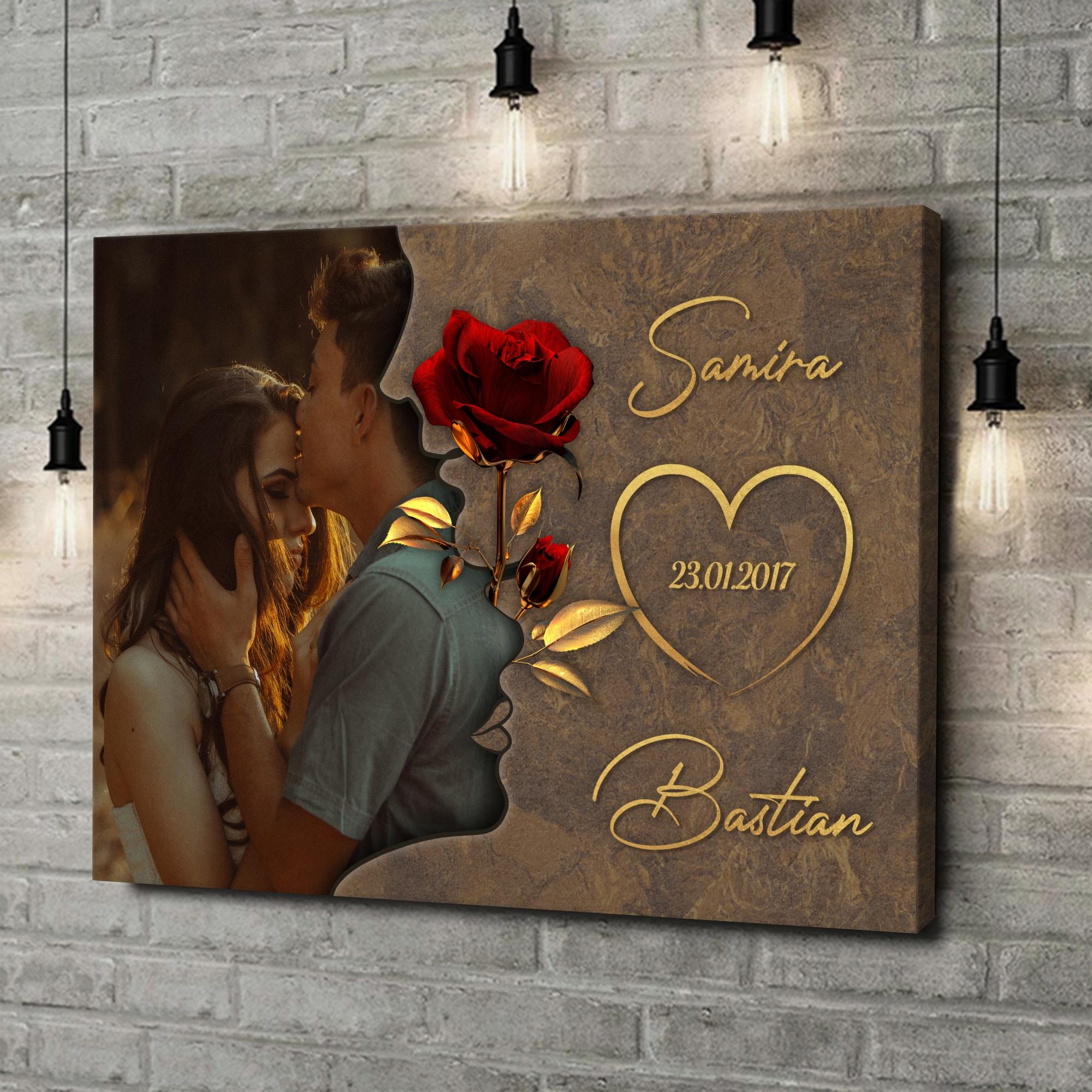 Leinwandbild personalisiert Liebesgeflüster