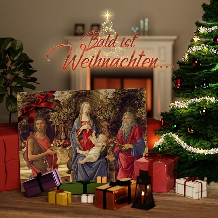 Liebesleinwand zu Weichnachten Thronende Maria mit dem Kind und den beiden Johannes