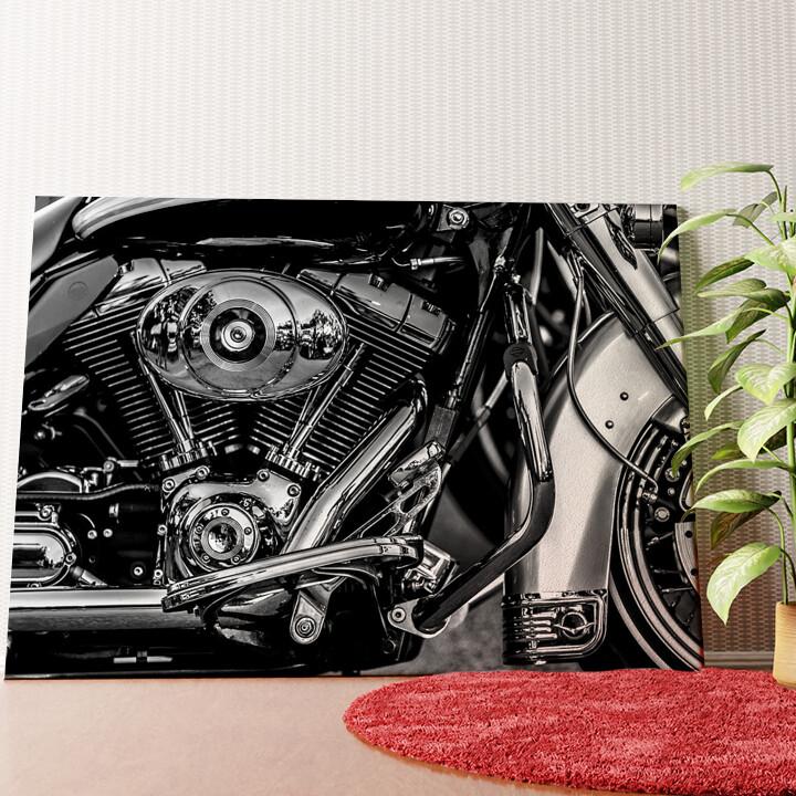 Personalisiertes Wandbild Chopper Motorblock