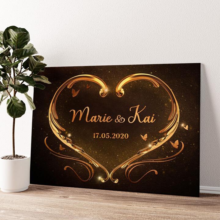 Goldenes Herz Wandbild personalisiert