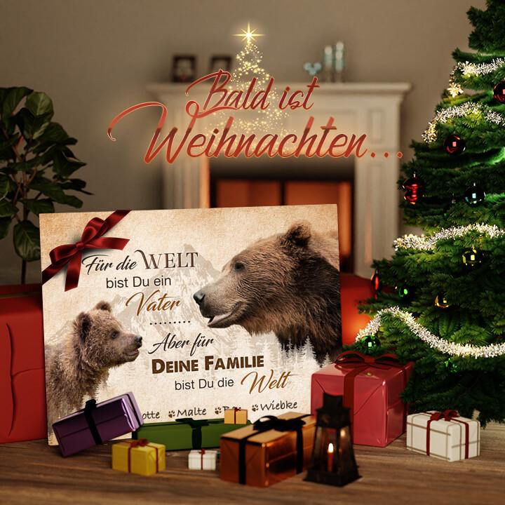 Liebesleinwand zu Weichnachten Bärenvater