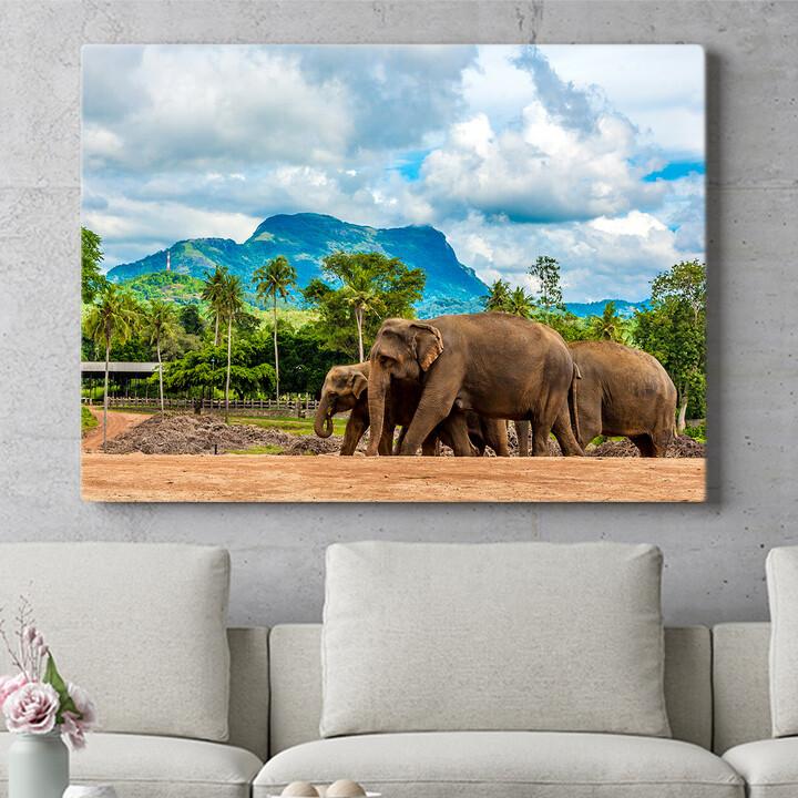 Personalisierbares Geschenk Elefanten in Sri Lanka