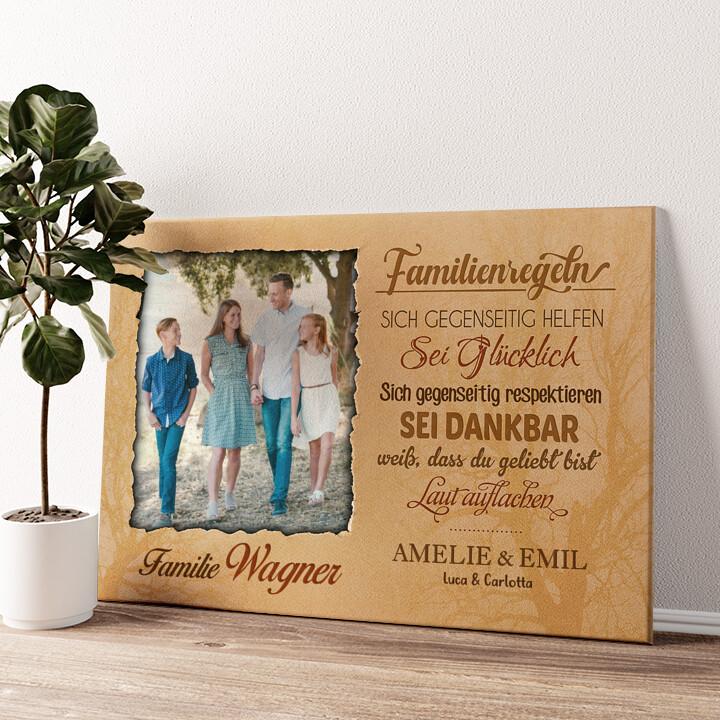 Familienregeln Wandbild personalisiert