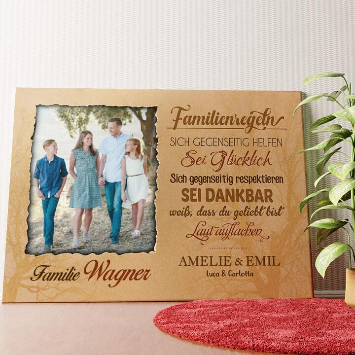Personalisiertes Wandbild Familienregeln