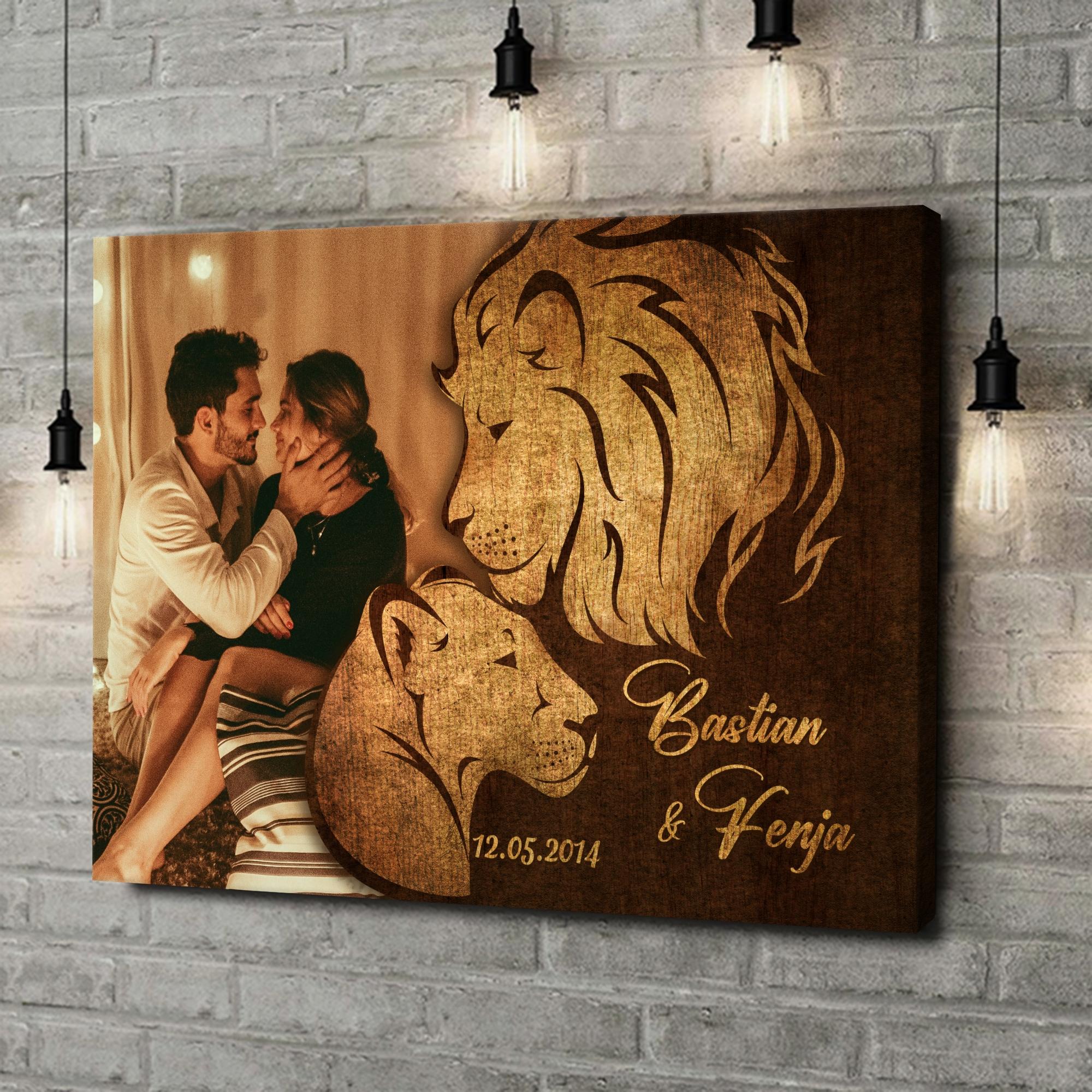 Leinwandbild personalisiert Löwen der Liebe