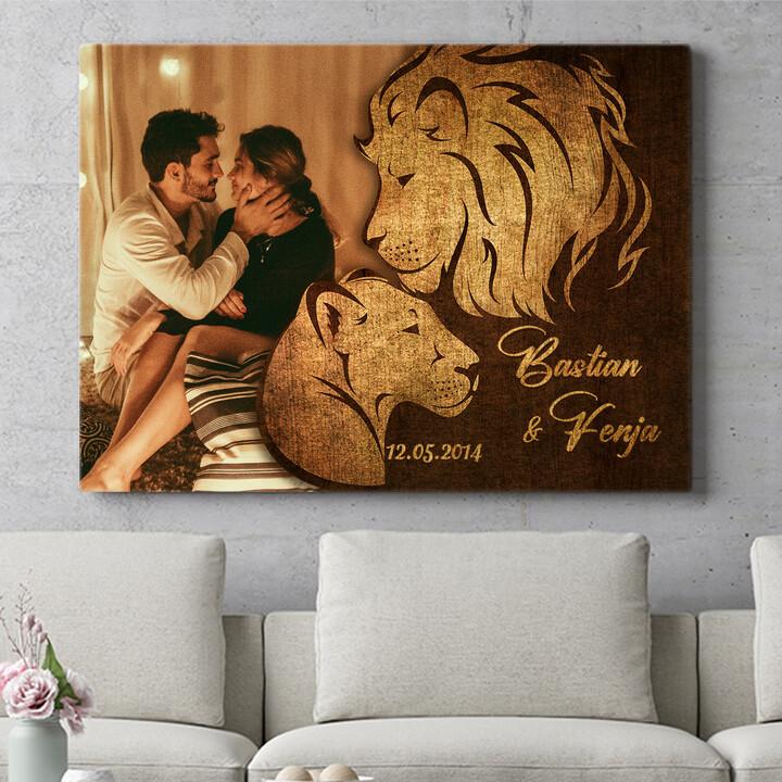 Personalisierbares Geschenk Löwen der Liebe