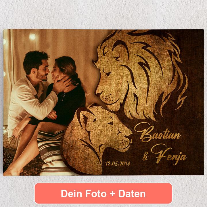 Personalisiertes Leinwandbild Löwen der Liebe
