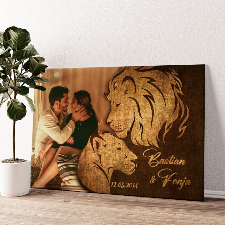 Löwen der Liebe Wandbild personalisiert