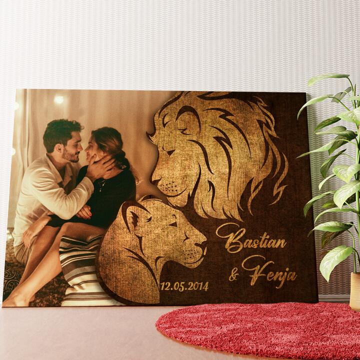 Personalisiertes Wandbild Löwen der Liebe