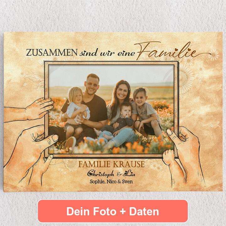 Personalisiertes Leinwandbild Beste Familie der Welt