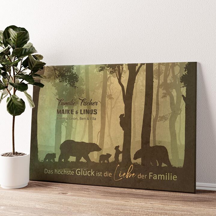 Liebe einer Familie Wandbild personalisiert