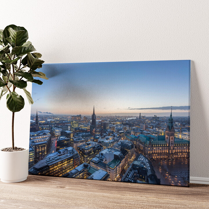 Skyline von Hamburg Wandbild personalisiert