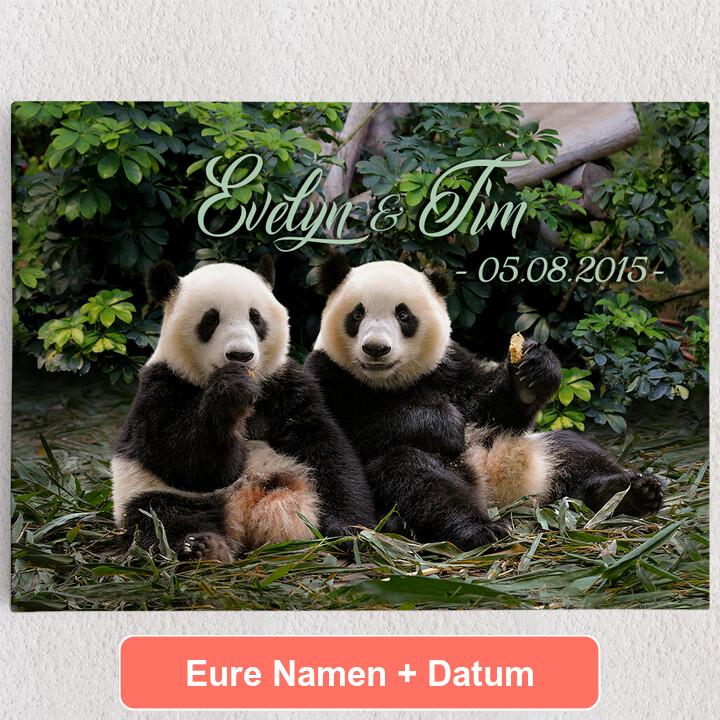 Personalisiertes Leinwandbild Pandabären