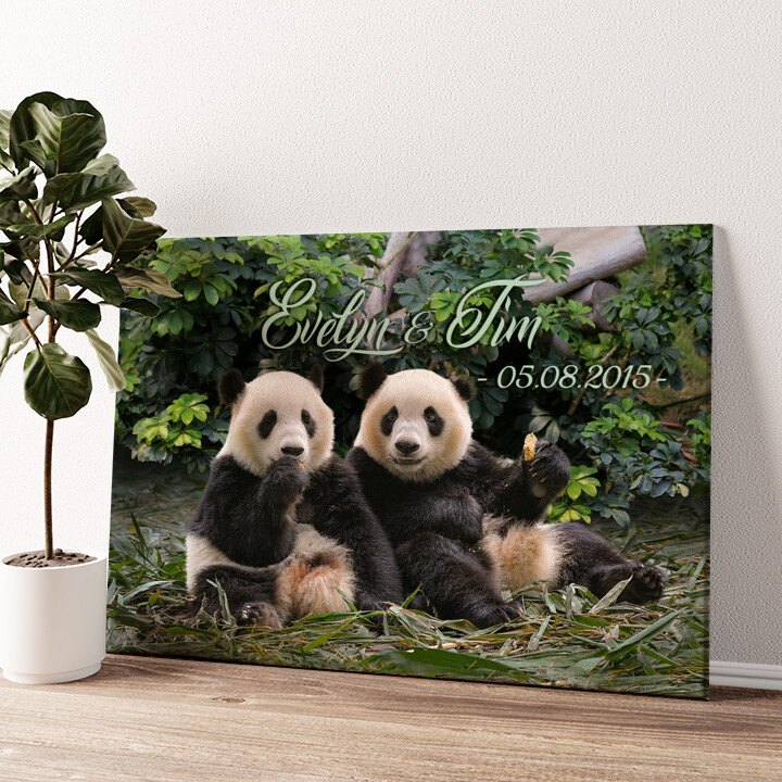 Pandabären Wandbild personalisiert
