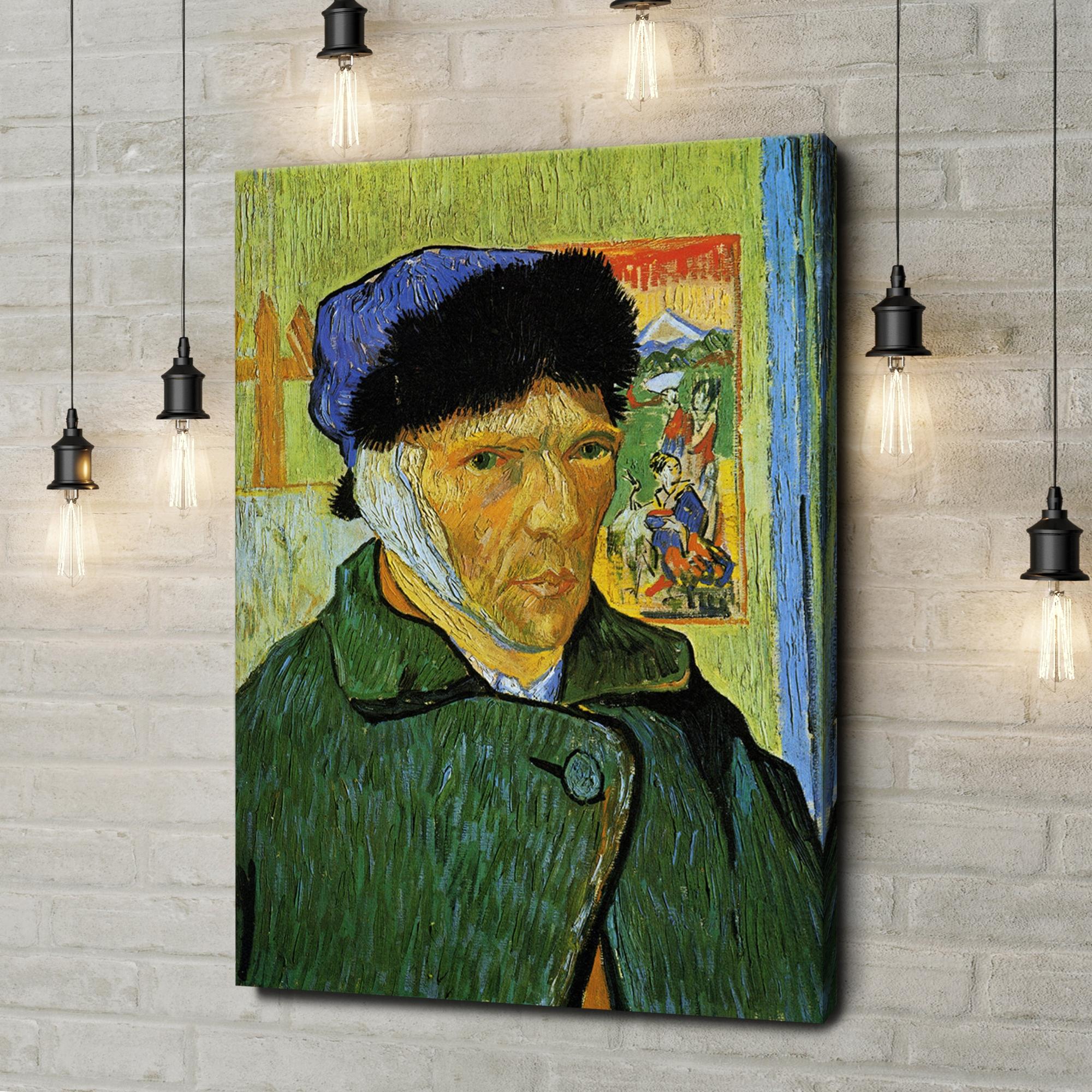 Leinwandbild personalisiert Selbstportrait mit Pelzmütze und verbundenem Ohr